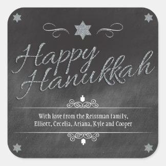 Chalkboard Faux Silver Glitter Hanukkah Square Sticker