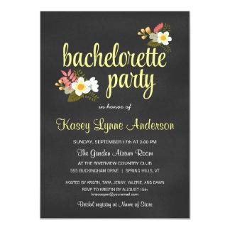 Chalkboard Floral Bachelorette Party Invitations