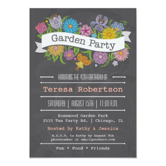 Chalkboard Floral Banner Garden Party Invitation