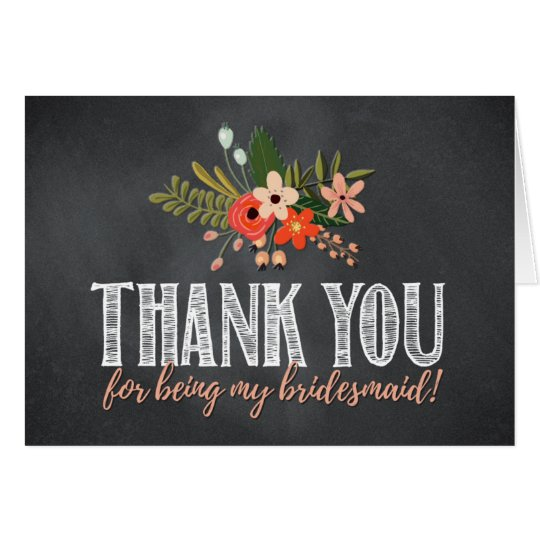 Chalkboard Floral Bridesmaid Thank You Card