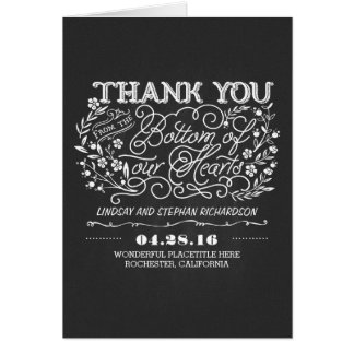 chalkboard floral cute wedding thank you cards