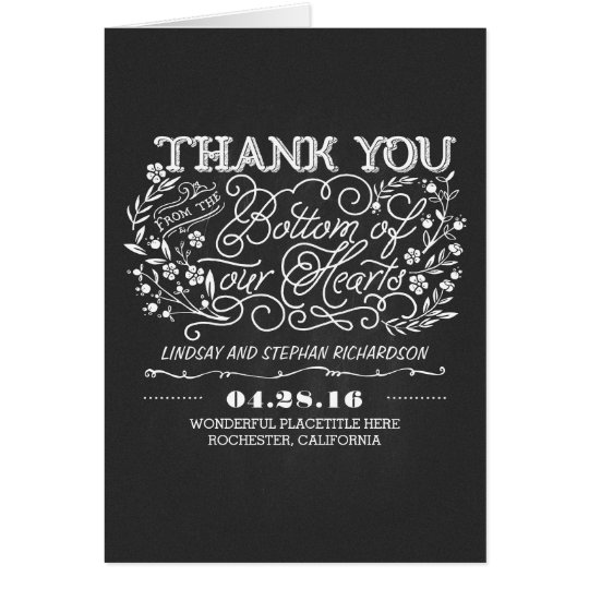 chalkboard floral cute wedding thank you cards