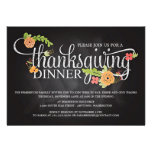 Chalkboard Floral Elegant Thanksgiving Dinner Personalized Announcements