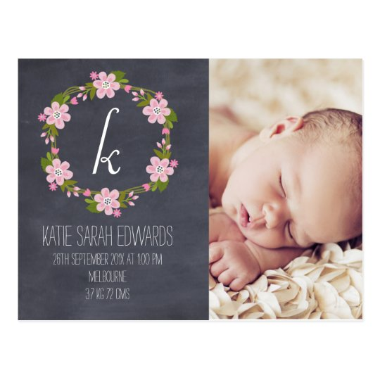 Chalkboard Floral Girl Baby Announcement Postcard