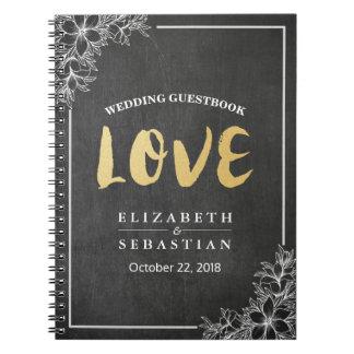Chalkboard Floral Gold Script Wedding Guestbook Notebook