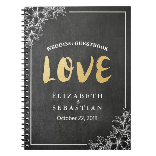 Chalkboard Floral Gold Script Wedding Guestbook Notebook