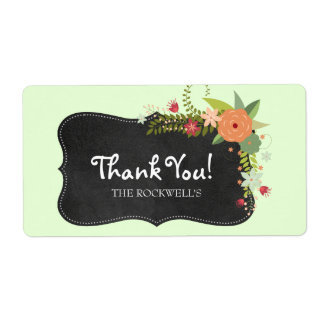 Chalkboard Floral Label Thank You Shipping Label