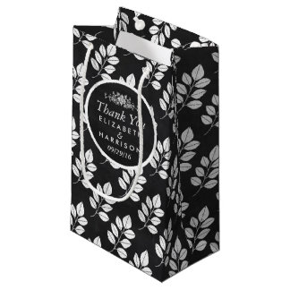 Chalkboard Floral Leaf Wedding Favor Small Gift Bag