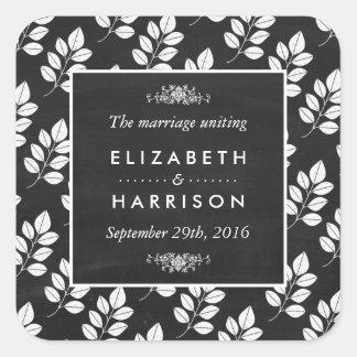 Chalkboard Floral Leaf Wedding Square Sticker