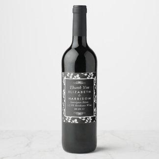 Chalkboard Floral Leaf Wedding Wine Label