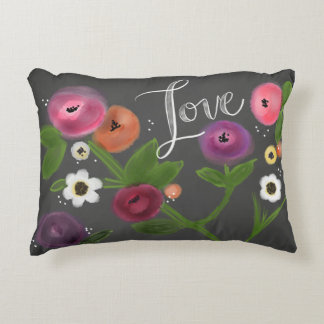 """ChalkBoard Floral LOVE Accent Pillow 16"""" x 12"""""""