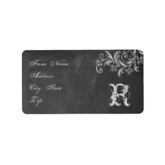 Chalkboard Floral Monogram Address Label