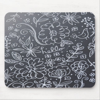 Chalkboard Floral mouse pad
