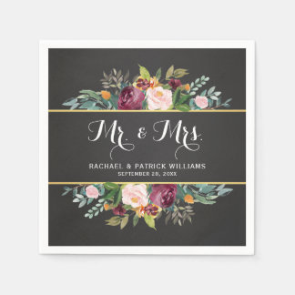 Chalkboard Floral Mr. and Mrs. Wedding Disposable Napkin