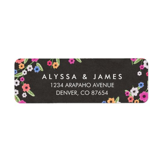 Chalkboard Floral Return Address Labels