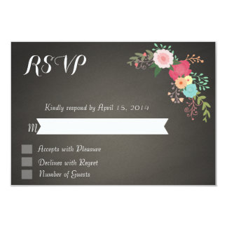 Chalkboard floral RSVP Cards 9 Cm X 13 Cm Invitation Card