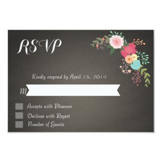 Chalkboard floral RSVP Cards 9 Cm X 13 Cm Invitation Card