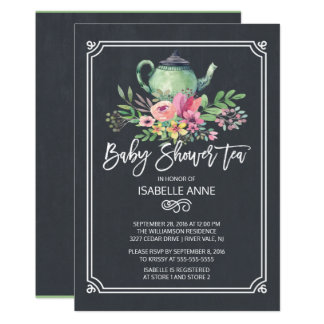 Chalkboard Floral Tea Party Neutral Baby Shower 13 Cm X 18 Cm Invitation Card