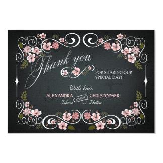 Chalkboard Floral Vintage Bold Thank You 9 Cm X 13 Cm Invitation Card