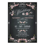 Chalkboard Floral Vintage Bold Wedding 13 Cm X 18 Cm Invitation Card