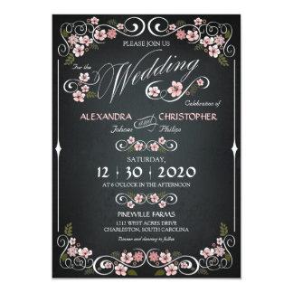 Chalkboard Floral Vintage Bold Wedding Card