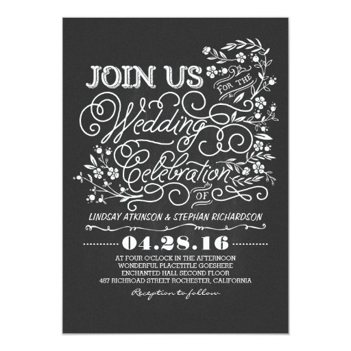Expensive Wedding Gift For Brother : Chalkboard floral vintage wedding invitation Zazzle