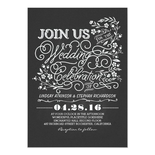 Chalkboard floral vintage wedding invitation