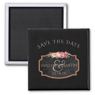 Chalkboard Floral Wedding | Custom Save the Date Magnet