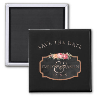 Chalkboard Floral Wedding | Custom Save the Date Square Magnet