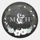Chalkboard Floral Wedding Monograms Ampersand Classic Round Sticker