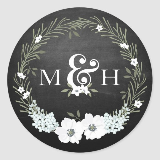 Chalkboard Floral Wedding Monograms Ampersand Classic Round
