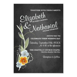 Chalkboard Floral Whimsy Wedding Invitation