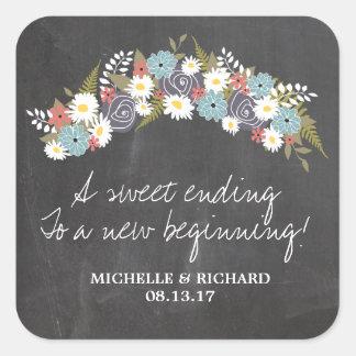 Chalkboard Floral Wreath Wedding Stickers