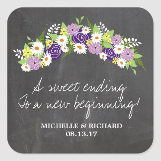 Chalkboard Floral Wreath Wedding Square Stickers