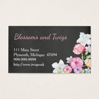 Chalkboard Flower Shop Business Card Watercolor