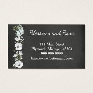 Chalkboard Flower Shop Business Card White Flowers