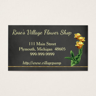 Chalkboard Flower Shop Business Card Yellow Roses