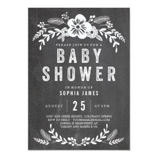 Chalkboard Flowers Baby Shower 13 Cm X 18 Cm Invitation Card