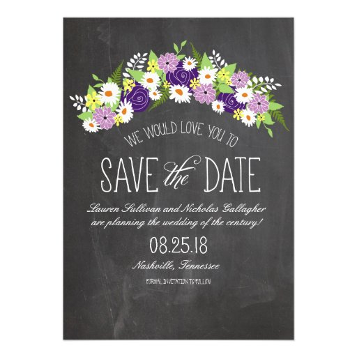 Chalkboard Flowers in Bloom Save the Date Announcements
