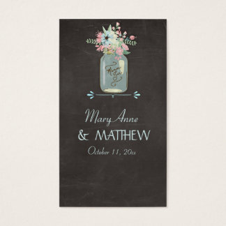 Chalkboard Flowers Rustic Mason Jar Modern Floral Business Card