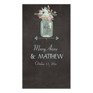 Chalkboard Flowers Rustic Mason Jar Modern Floral Pack Of Standard Business Cards