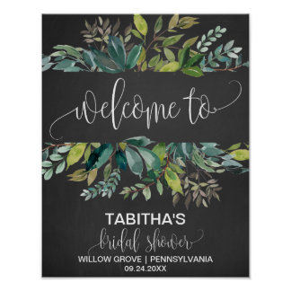 Chalkboard Foliage Bridal Shower Welcome Poster
