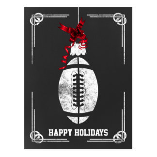 chalkboard football player Christmas Cards Postcard