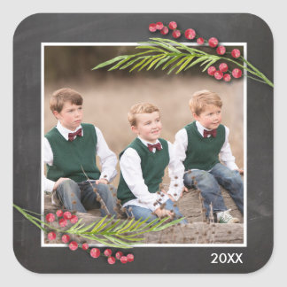 Chalkboard Frame Holiday Collection Photo Square Sticker