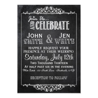 Chalkboard Framed Flourish Wedding Invitation