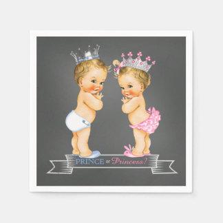 Chalkboard Gender Reveal Blonde Prince Princess Paper Napkin