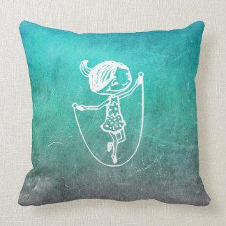 Chalkboard Girl Jump Roping Doodles Mint Blue Cushion