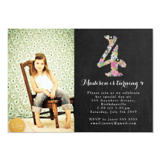 Chalkboard Girls 4th Birthday Party Invitation