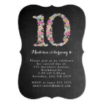 "Chalkboard Girls Floral 10th Birthday Party Invite 5"" X 7"" Invitation Card"
