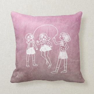 Chalkboard Girls Skipping Rope Doodles Pink Cushion